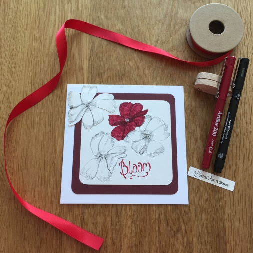 Bloom card with ribbon