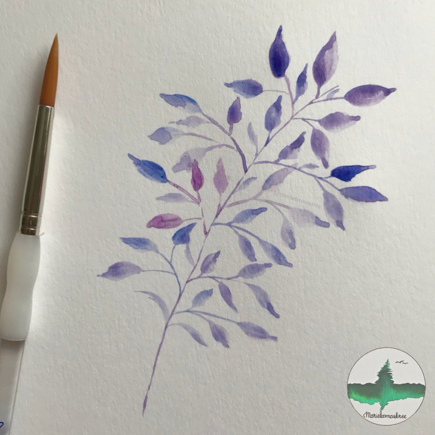 Watercolour painting Watercolor leaves Artist: mariebxmastree